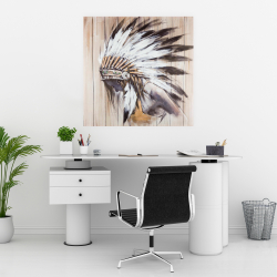 Poster 30 x 30 - Indian with feathers