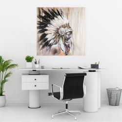 Affiche 30 x 30 - Indienne avec une coiffe amérindienne