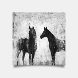 Poster 30 x 30 - Black and white horses