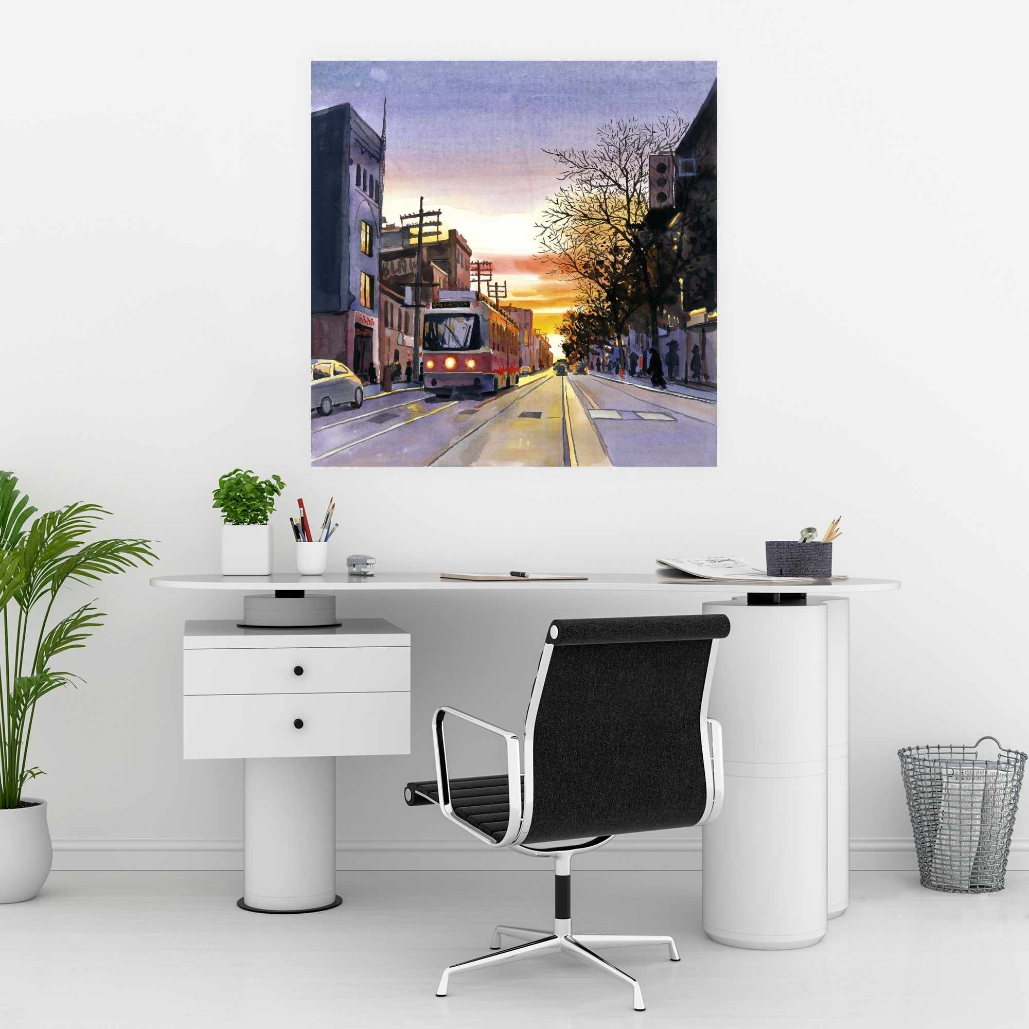 Affiche 30 x 30 - Coucher de soleil une rue torontoise