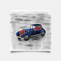 Poster 30 x 30 - Vintage blue toy car