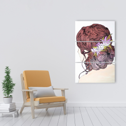 Canvas 24 x 36 - Woman from behind with flowers