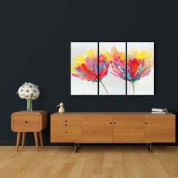 Canvas 24 x 36 - Colorful flowers with a butterfly