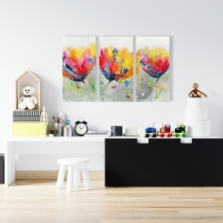 Canvas 24 x 36 - Four colored flowers on gray background