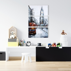 Canvas 24 x 36 - Abtract london with red bus