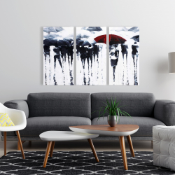 Canvas 24 x 36 - Abstract silhouettes under the rain