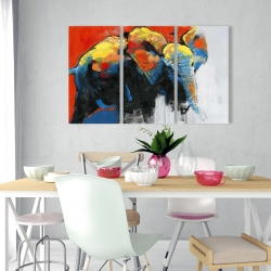 Canvas 24 x 36 - Colorful abstract moving elephant