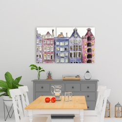 Canvas 24 x 36 - Old historic houses amsterdam