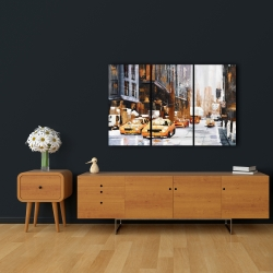 Canvas 24 x 36 - Big city street with yellow taxi