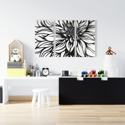 Canvas 24 x 36 - Dahlia flower outline style