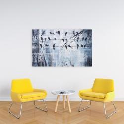 Toile 24 x 36 - Oiseaux abstrait sur fil électrique