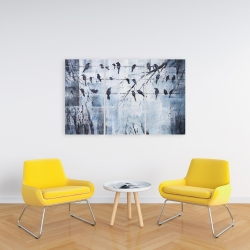 Canvas 24 x 36 - Abstract birds on electric wire