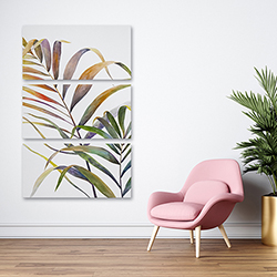 Canvas 24 x 36 - Watercolor tropical palm leaves