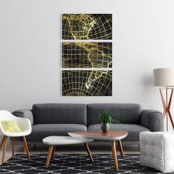 Canvas 24 x 36 - Black and marine world map globe