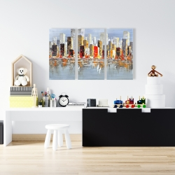 Canvas 24 x 36 - Colorful buildings with water reflection