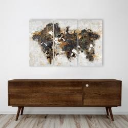 Toile 24 x 36 - Carte du monde abstraite et typographie