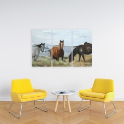 Canvas 24 x 36 - Horses eating in the meadow