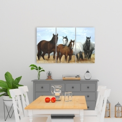 Canvas 24 x 36 - Horses in the meadow by the sun