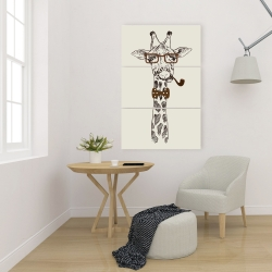 Canvas 24 x 36 - Funny giraffe with a pipe