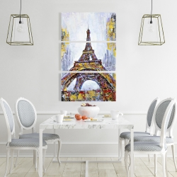 Canvas 24 x 36 - Abstract paint splash eiffel tower