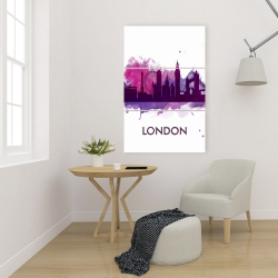 Canvas 24 x 36 - Purple silhouette of london