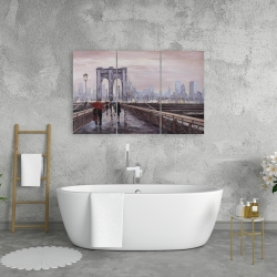 Canvas 24 x 36 - Brooklyn bridge with passersby