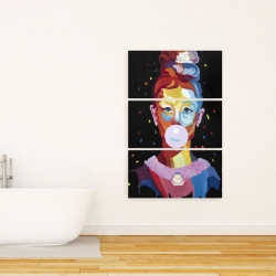 Canvas 24 x 36 - Colorful audrey hepburn portrait with bubblegum