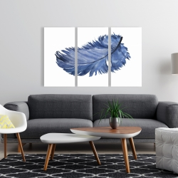 Canvas 24 x 36 - Watercolor blue feather