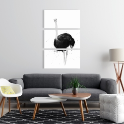 Canvas 24 x 36 - Ostrich in watercolor