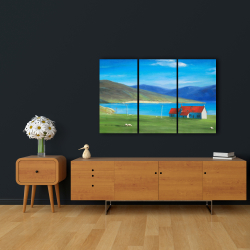 Canvas 24 x 36 - Scottish highlands with a little red roof house