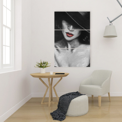 Canvas 24 x 36 - Mysterious red lips lady