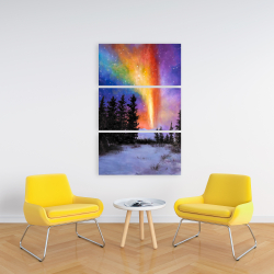 Canvas 24 x 36 - Aurora borealis in the forest