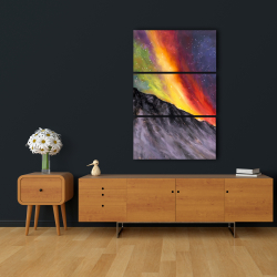 Canvas 24 x 36 - Aurora borealis in the mountain