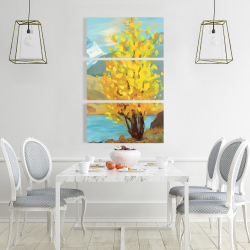 Canvas 24 x 36 - Lake landscape with a tree and reflection