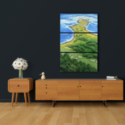 Canvas 24 x 36 - Island overhead view with waves