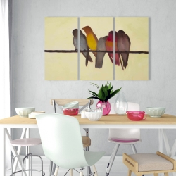 Canvas 24 x 36 - Five birds on a branch