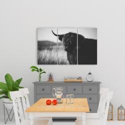 Canvas 24 x 36 - Beautiful monochrome highland cow