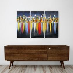 Toile 24 x 36 - Réflexion colorée d'un paysage urbain de nuit