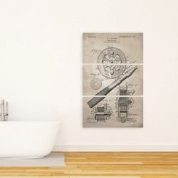 Canvas 24 x 36 - Beige blueprint of a fishing reel