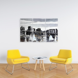 Canvas 24 x 36 - Brooklyn bridge with sailboats
