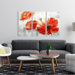 Canvas 24 x 36 - Abstract red wild flowers