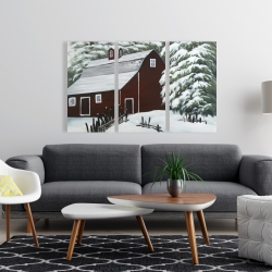 Canvas 24 x 36 - Red barn in snow