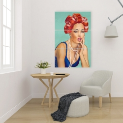 Canvas 24 x 36 - Pin up girl with curlers