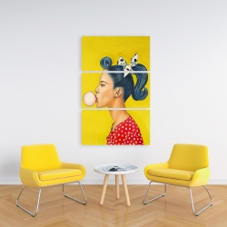 Canvas 24 x 36 - Retro woman with beautiful ponytail