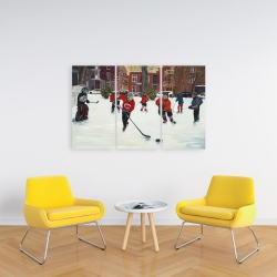 Canvas 24 x 36 - Young hockey players