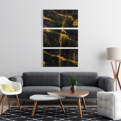 Canvas 24 x 36 - Black and gold marble texture