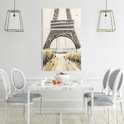 Canvas 24 x 36 - Eiffel tower with flying birds
