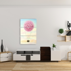 Canvas 24 x 36 - Hot air balloon hydrangea flowers