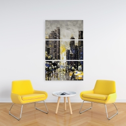 Canvas 24 x 36 - Abstract and texturized city with yellow taxis