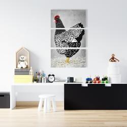 Canvas 24 x 36 - Black and white wyandotte hen